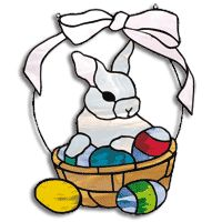 Free stained glass pattern. Easter bunny and eggs in basket.