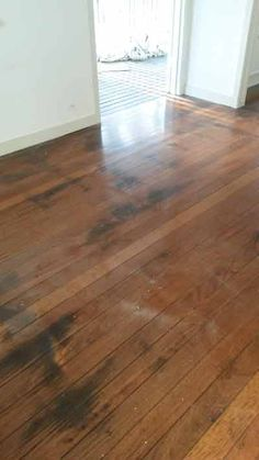 This is a classic example of how animal (dog/cat) urine can permanently stain timber floors. This floor had previously been sanded by another company years ago and, as you can see, the staining is very distinct.