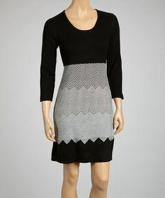 cea3d6dfad1 Sandra Darren Black   Ivory Zigzag Sweater Dress