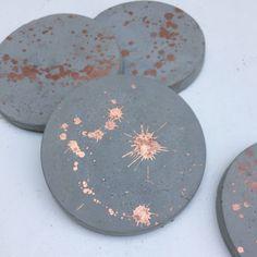 Copper / rose gold splatter concrete cement coasters