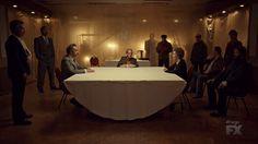 "Fargo 2x04 ""Fear and Trembling"" - Dodd Gerhardt (Jeffrey Donovan), Floyd Gerhardt (Jean Smart), Bear Gerhardt (Angus Sampson) & Joe Bulo (Brad Garrett)"