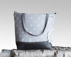 COOL Grey Leather Tote Bag  Light Grey Linen Polka by dawnaparis, €50.00