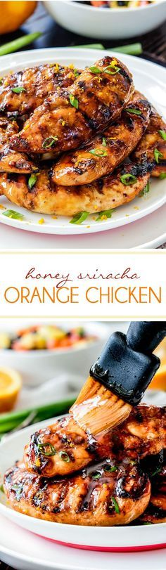 Honey Sriracha Orange Chicken - Tender, juicy grilled chicken marinated and smothered in the most tantalizing sweet heat orange sauce you can't even imagine!