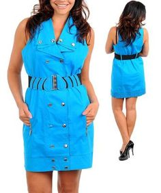 Blue Mini Shirt Style Belted Buttons and Snaps Dress 1X-14P - NEW - Free Shipping