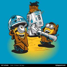"""Minions T-Shirt by David Kopet aka DJKopet. The Minions have """"Despicable Jawas"""" is a mashup of Star Wars and Despicable Me. Minion Art, Minions Love, My Minion, Minions Minions, Minions Quotes, Purple Minions, Minion Stuff, T-shirt Star Wars, Starwars"""