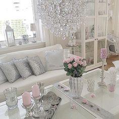 Cute feminine decor. Ideas for walk in closet with makeup area.