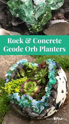 Rock and Concrete Geode Orb Planters - Made By Barb - easy Crystal DIY Geodes to plant moss gardens - - Create a unique Concrete Orb and take it further to make sparkling Geodes with this thorough tutorial using rock and fast set concrete. Diy Concrete Planters, Concrete Garden, Diy Planters, Garden Planters, Succulent Planters, Balcony Garden, Succulents Garden, Rock Planters, Hanging Planters