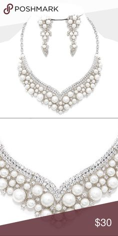 """Crystal Accented Pearl Necklace Set • Theme : Pearl  • NECKLACE : 14"""" + 4""""L • DECOR : 1.5"""" L • EARRINGS : 2.75"""" L  • LOBSTER CLAW CLASP • POST BACK • Crystal embellished pearl necklace Jewelry Necklaces"""
