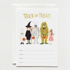 Box of 10 write-in lines cards with envelopes. This set will be perfect for your next Halloween Party. Invitation size: 5 x 7 inches, printed full color on natural white cover paper Envelope: soft whi