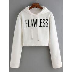 Hooded Drawstring Letter Print Crop Sweatshirt ($17) ❤ liked on Polyvore featuring tops, hoodies, sweatshirts, white, white sweatshirt, hooded sweat shirt, hooded sweatshirt, cotton pullovers and pullover hoodie sweatshirt