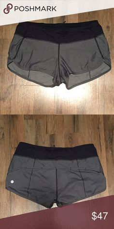 RARE grey Lululemon Athletica speed short Size 6 Mint condition Grey Lululemon speed shorts in a size 6. Speed shorts are the coziest choice for runners, lifters, and yogis alike! Pet free, smoke free home lululemon athletica Shorts