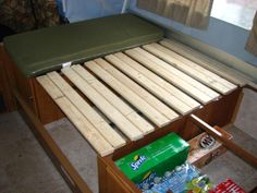 Dinette bed slats: foldable for when you want to use the table outside, but still sleep on the dinette.