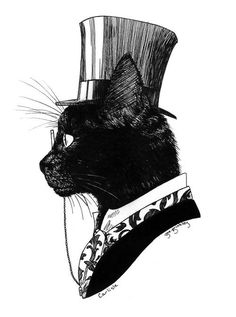 cat Illustration Black and White feline steampunk victorian Black Cat Art And Illustration, Victorian Illustration, Cat Illustrations, Tattoo Gato, Cat Tattoos, Photo Chat, Crazy Cats, Art Drawings, Pencil Drawings