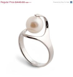 Pearl Engagement Ring Unique by arosha, $330.00