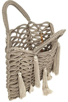 Mushroom macramé Two braided top handles Tassels Internal attached sand leather zipped pouch (Calf) Open top