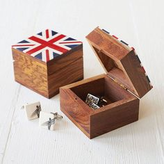 Union Jack Wooden Cufflink Box £12 (I'd use it for jewelry)
