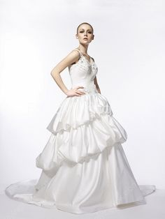 fancyflyingfox.com Offers High Quality V-Neckline Straps White Taffeta Ball Gown Full Length Wedding Dresses 3 Layered ,Priced At Only US$260.00 (Free Shipping)