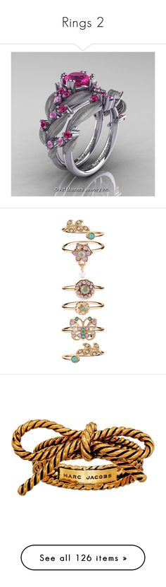"""""""Rings 2"""" by thesassystewart on Polyvore featuring jewelry, rings, 14 karat white gold ring, pink sapphire wedding rings, wedding band engagement ring, 14 karat gold ring, white gold engagement rings, blossom jewelry, flower jewelry and stacking rings jewelry"""