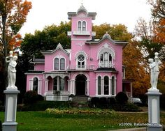 The pink house.  Wellsville, NY  oh my gosh!!!!! It's like they read my mind! Best house ever !!!!