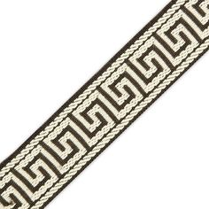 This is a beautiful embroidered jacquard trim. The design   features a Greek key style. This trim is most popular on home   decor for decorating the edges of closets, drawers, counters and   more.     Measures   33MM