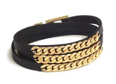 """""""Black Gold"""" Bracelet - """"Black Gold"""" Bracelet - This classic handcrafted bracelet, combines fine leather with 24K Gold plated chain links. Suitable for every occasion, whether for yourself or for a loved one."""
