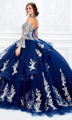 Navy Blue Quinceanera Dresses, Long Sleeve Quinceanera Dresses, Sweet 15 Dresses, Pretty Dresses, Beautiful Dresses, Blue Ball Gowns, Ball Gown Dresses, Xv Dresses, Royal Ball Gowns