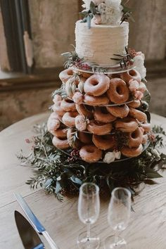 Donut wedding cakes green and floral toppers rustic weddings country wedding . - Donut wedding cakes green and floral toppers rustic weddings country wedding … – Wedding – - Donut Wedding Cake, Wedding Donuts, Wedding Cake Rustic, Fall Wedding Cakes, Wedding Tips, Wedding Favors, Wedding Planning, Rustic Weddings, Country Weddings