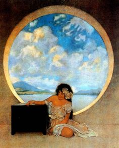 Pandora illustration by Maxfield Parrish from Nathaniel Hawthorne's A Wonder Book and Tanglewood Tales, 1910 Canadian Artists, American Artists, Maxfield Parrish, Wonder Book, Pandoras Box, Ouvrages D'art, Art Et Illustration, Les Oeuvres, Illustrators