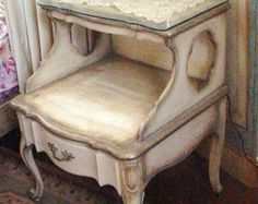 Vintage French Provincial NightStand Table Original Paint Shabby Chic Cottage Furniture Provincial (Like Moms)