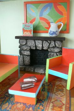 doll house furniture... love the fireplace!