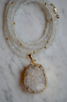 Faceted Rainbow Moonstone & Gold Bead Long by HannahClaireJewelry