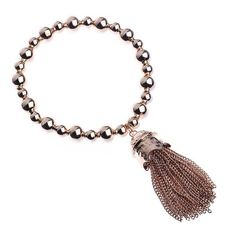 Layered Rose Gold Stretch Bracelet with Tassel