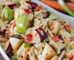 Apple Cinnamon Coleslaw. diabetic connect Jazz up your coleslaw with apples, walnuts, raisins, and a quick and easy dressing. You'll never settle for ordinary coleslaw again!