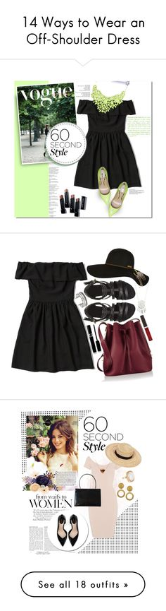 """""""14 Ways to Wear an Off-Shoulder Dress"""" by polyvore-editorial ❤ liked on Polyvore featuring offshoulderdress, waystowear, Abercrombie & Fitch, Sebastian Professional, Bobbi Brown Cosmetics, black, GREEN, offshoulder, 60secondstyle and Sophie Hulme"""