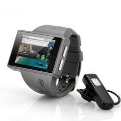 """Android Phone Watch """"Rock"""" - Quad Band, 2 pollici schermo capacitivo, fotocamera 2MP (Grigio)Specifiche del produttoreGeneraleOS Versione: 2.2CPU: MT6516Velocità del processore (max): 416 MHzRAM: 256 MB2G: GSM 850/900/1800 / 1900MHzWiFi: 802.11 b / gBluetoothAdobe Flash2 MegapixelMic ed altoparlanteLingue: Bahasa Indonesia, Bahasa Melayu, tedesco, inglese, spagnolo, francese, italiano, portoghese, vietnamita, turco, russo, cinese (semplificato), cinese (tradizionale)SchermoDimensione ..."""