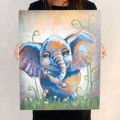 Happy Elephant - Canvas Painting