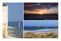 England's Coastal Beauty: Beachy Head - Eastbourne / Sunset in Newquay / Hayle Beach in Cornwall, postcard by swissmountainview. Newquay, Us Travel, Cornwall, Coastal, England, Sunset, Beach, Places, Water