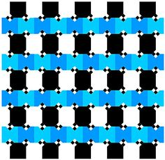 Cafe Wall Variation - Are the lines made out of the blue squares parallel? You bet they are! #Optical #Illusions #ShermanFinancialGroup