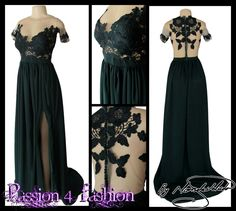 Dark green flowy lace bodice matric dance dress, an illusion bodice with an off shoulder effect. Back detailed with covered buttons. Full flowy skirt with a slit & a train. #mariselaveludo #matricdance #passion4fashion #matricdress #lace #darkgreendress #flowymatricdress #eveningdress #promdress
