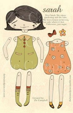 Sweet paper doll designed by Zie Campbell. thebruisedpear.etsy.com