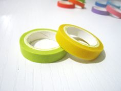 2 Washi Tape  Solid Yellow and Lime Yellow  Set of by pinkdotsetc