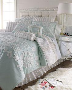 Dena Home Cloud Bed Linens Full/Queen Aqua Comforter w/ Floral Applique, 96 x 92 traditional duvet covers
