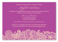 Mehendi Insert Cards ~ Bombay - Vibrant, mysterious and full of charm with a classic Indian style, this Indian wedding suite from ForeverFiances offer a unique way to give your guests a colorful eco-chic feel. Use the design from these invitations to crea