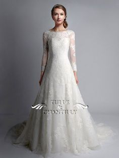Vintage Bateau Neck Long Sleeves Lace Wedding Gown TBQWC024 8fc2540a5cce