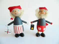 hand painted swedish holiday tomte elf man and woman couple. $52.00, via Etsy.