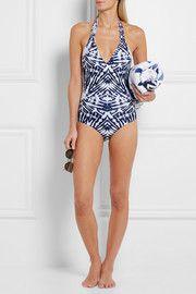 Mediterranean printed macramé-paneled halterneck swimsuit