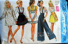 Simplicity Vintage Pattern #8208 Size 16 Mini Dress/Skirt & Bell Bottom Pants #Simplicity #DressSkirtBellbottomswithsuspenders