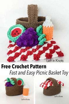 Picnic Basket Baby Toy - Free Crochet Pattern — Left in Knots Crochet Cupcake, Crochet Bowl, Cute Crochet, Crochet For Kids, Modern Crochet Patterns, Crochet Patterns Amigurumi, Knitting Patterns, Crochet Granny Square Afghan, Granny Squares