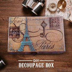 Decoupaging is a great way to improve the look of your plain articles. You can decoupage almost anything and jazz it up according to your taste.  Make this antique looking box using Modge Podge and give it a 3D look by adding the Eiffel tower made using Fevicryl Mouldit.