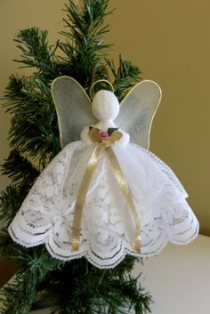 White Handmade Lace Angel 7 IN. Christmas Angel Gold Crafts Victorian Halos